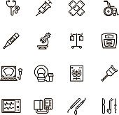 Healthcare medical equipment and hospital line vector icons. Microscope and syringe, dropper and x-ray, thermometer and ultrasound medical equipment illustration