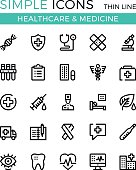 Healthcare, medicine, medical services vector thin line icons set. 32x32 px. Line graphic design for websites, interface, web design, mobile app, infographics. Pixel perfect vector outline icons set