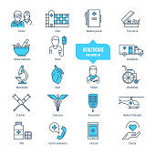 Healthcare thin line icons, pictogram set. Icons for medical services, ambulance, clinic, pharmacology, first aid, treatment. Healthcare system, medical equipment Illustration editable stroke