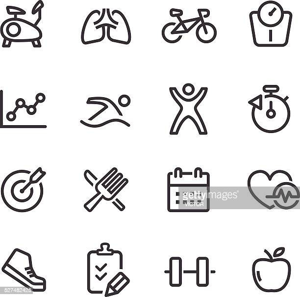 Healthy and Fitness Icons - Line Series