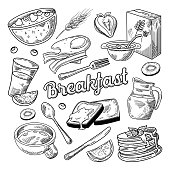 Healthy Breakfast Hand Drawn Doodle. Food and Drink Sketch. Cornflakes Pancakes Juice and Fruits. Vector illustration