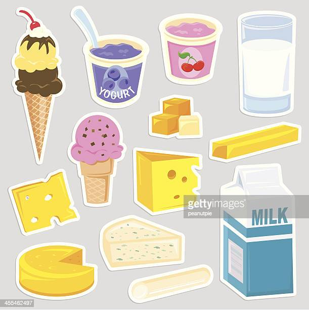 Healthy dairy food icons