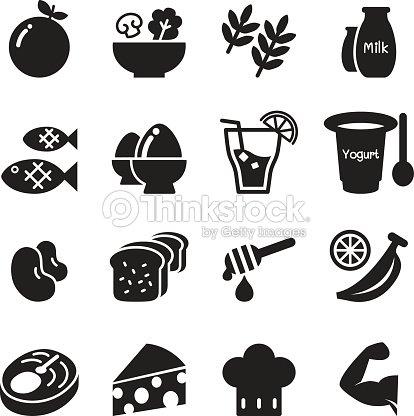 Healthy Food Diet Food Icons Set Vector Vector Art ...