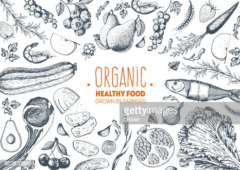 Healthy food frame vector illustration. Vegetables, fruits, meat hand drawn. Organic food set. Good nutrition. : Arte vettoriale