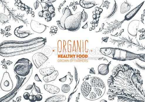Healthy food frame vector illustration. Vegetables, fruits, meat hand drawn. Organic food set. Good nutrition. : stock vector