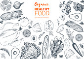 Healthy food frame vector illustration. Vegetables, fruits, meat hand drawn. Organic food set