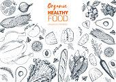 Healthy food frame vector illustration. Vegetables, fruits, meat hand drawn. Organic food set