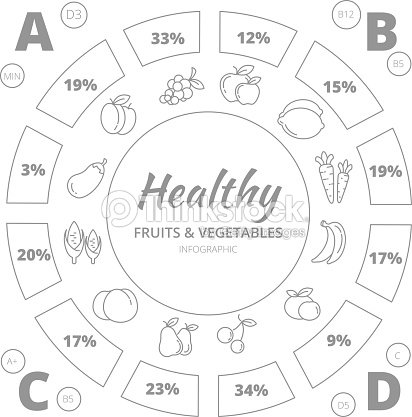 Healthy Food Fruits And Vegetables Vector Infographic Template Stock