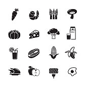 Healthy food icons, set of 16 editable filled, Simple clearly defined shapes in one color.