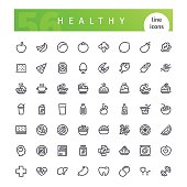 Set of 56 healthy food line icons suitable for web, infographics and apps. Isolated on white background. Clipping paths included.