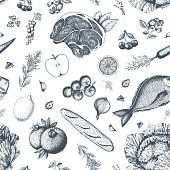 Healthy food seamless pattern. Hand drawn vector illustration. Background with vegetables, fruits and meat. Organic food set