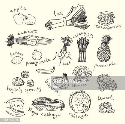 Healthy Food Sketch Style Vector Art | Thinkstock