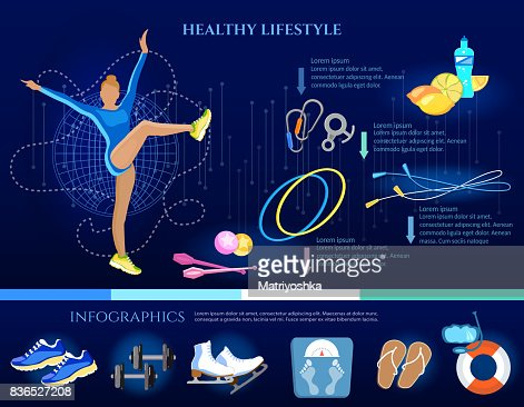 Healthy Lifestyle Banner Eating Diet Sports And Gymnastics