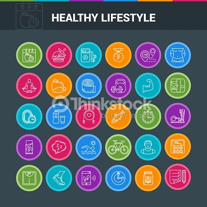 Healthy lifestyle colorful icons : stock vector