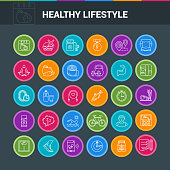 Healthy lifestyle colorful icon set. Modern icons on theme fitness, nutrition and dieting. Vector illustration