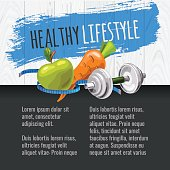Template with sports equipment and healthy food. Diet and sport