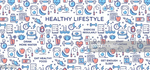 Healthy Lifestyle Vector Illustration, Dieting, Fitness & Nutrition : Vector Art