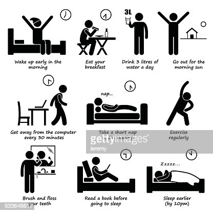 Healthy Lifestyles Daily Routine Tips Stick Figure
