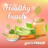Healthy Lunch Promo Banner, Fresh Breakfast for Baby with Zucchini, Carrot and Broccoli Puree in Jar and Plate with Spoon, Eco Vegetables Mashed, Kids Food Mockup, 3d Vector Realistic Illustration
