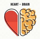 Heart and brain work as team concept design, flat line art modern illustration. EPS10 vector.