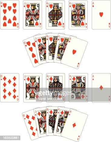 Heart and Diamond Suit Royal Flush playing cards : Vector Art