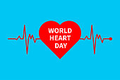 World heart day, heart and heart rate, thanks to doctors, greeting card, banner