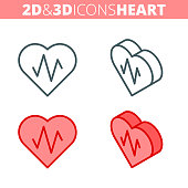 The heart and heartbeat. Flat and isometric 3d outline icon set. The heart shape with pulse line illustration collection. Vector linear infographic elements for web design, social media, presentations