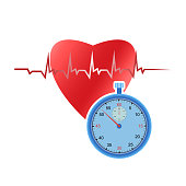 Human heart and stopwatch on white background. Measure the heart rhythm using a stopwatch.
