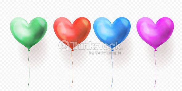 Heart Balloons Transparent Set Of Isolated Glossy Ballons For