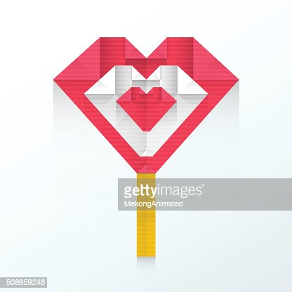 heart candy icon origami : Vector Art