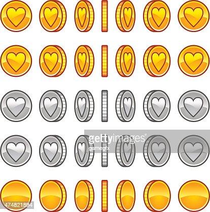 heart coins rotation animation sprites vector art thinkstock