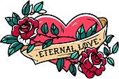 Heart entwined in climbing rose tattoo. Heart entwined in ribbon. Tattoo heart with ribbon and roses. Old school styled. Ribbon with lettering Eternal love. Forever love