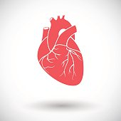 Heart. Single flat icon on white background. Vector illustration.