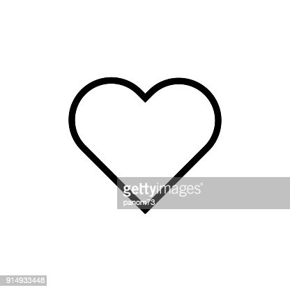 Heart flat style Icon Vector , Love Symbol Valentine's Day isolated on white background illustration : Vector Art