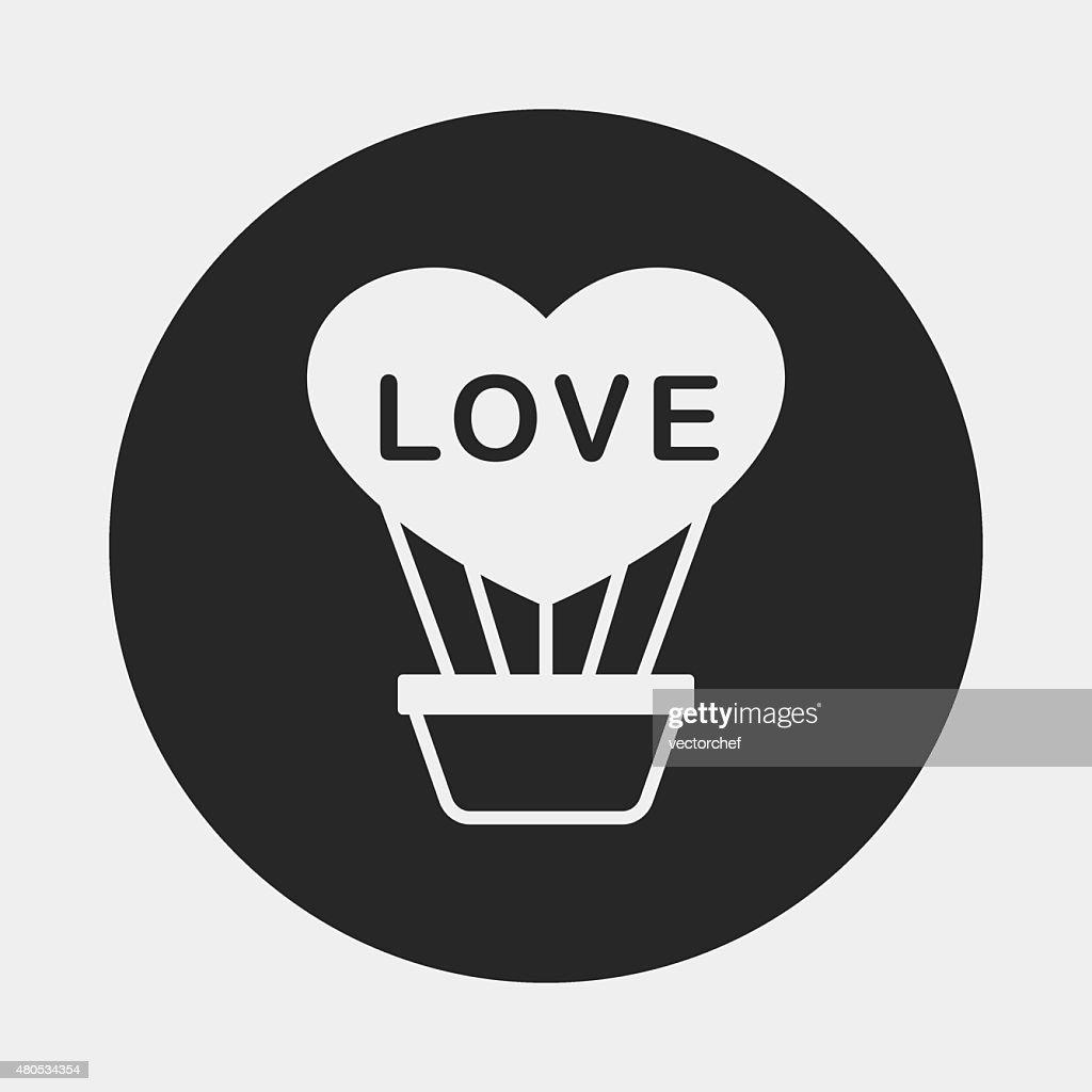 heart hot air balloon icon : Vectorkunst