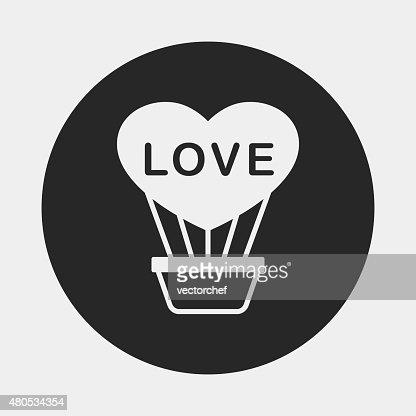 Montgolfière icône de cœur : Clipart vectoriel