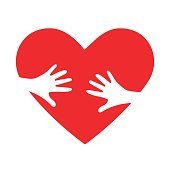 Heart hug vector icon as orphan children adoption metaphor. Helping or Loving Hands embracing Red heart. Great as illustration or logo for Child Adoption or Medical or kids healthcare Charity Agency.