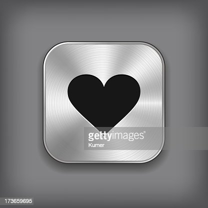 Heart Icon Vector Metal App Button Vector Art Getty Images