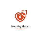 Heart icon with stethoscope. Cardiology health care center or medical clinic design concept.