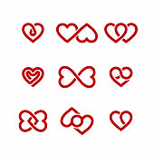 Red heart icons set, Valentines Day design elements