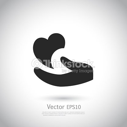 Heart In Hand Symbol Sign Icon Logo Template For Charity Health