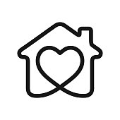 House with heart shape within, love home symbol, vector illustration isolated on white background