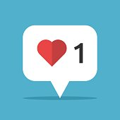 Red heart in white speech bubble on blue background with drop shadow. Approval, voting and social network concept. Flat design icon. Vector illustration. EPS 8, no transparency