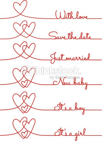 Heart Line Drawing With Text For Cards Vector Art Thinkstock