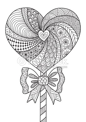 Heart Lollipop Line Art Design For Coloring Book Vector Art | Thinkstock