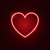 Heart Neon Sign. Vector Illustration of Love Promotion.