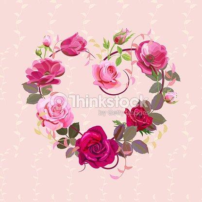 Corazon De Flores Tarjeta De San Valentin Rojo Rosas Anemonas