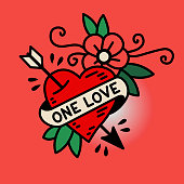 Heart One Love in the traditional style of old school tattoo vector illustration