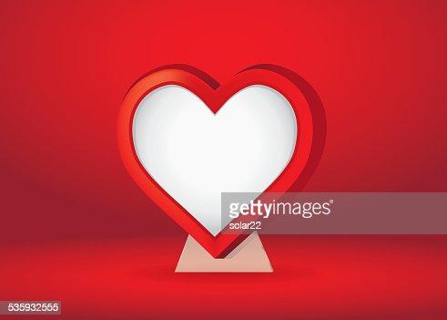 Heart Shape Frame Over Red : Vector Art