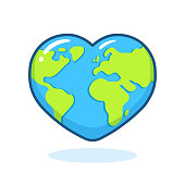 Cute cartoon planet Earth drawing with heart shape. Nature and ecology vector clip art illustration. Earth Day poster design element.